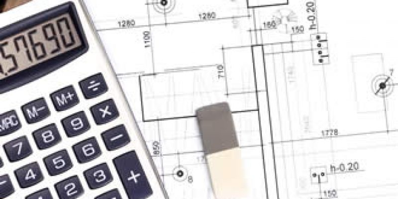 blueprint plan with calculator