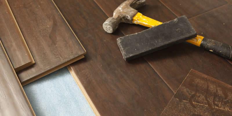 new laminate floor being installed