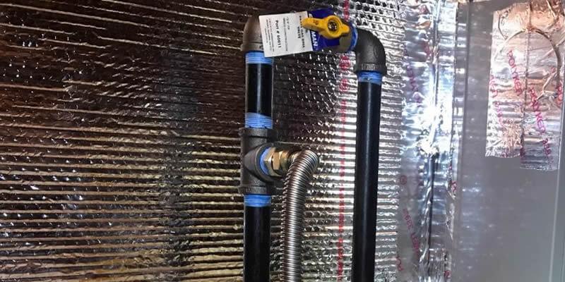 gas line shut off valve installed on furnace